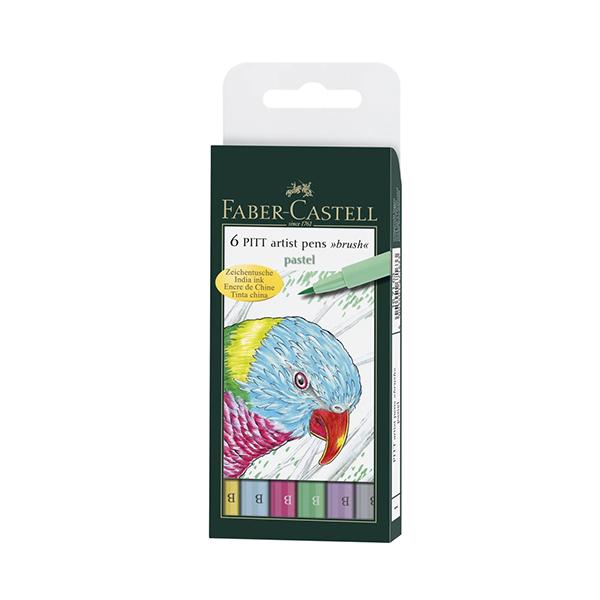 Faber-Castell-6-Pitt-Artist-Pens-Pastel-Brush-set