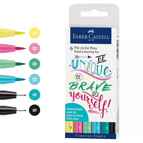 Faber-Castell-Pitt-Artist-Pen-Hand-Lettering-Set-of-6-Be-unique-be-brave-be-yourself