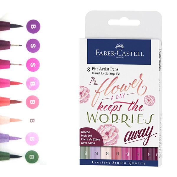 Faber-Castell-Pitt-Artist-Pen-Hand-Lettering-Set-of-8-new-A-Flower-a-Day-Keeps-the-worries-away