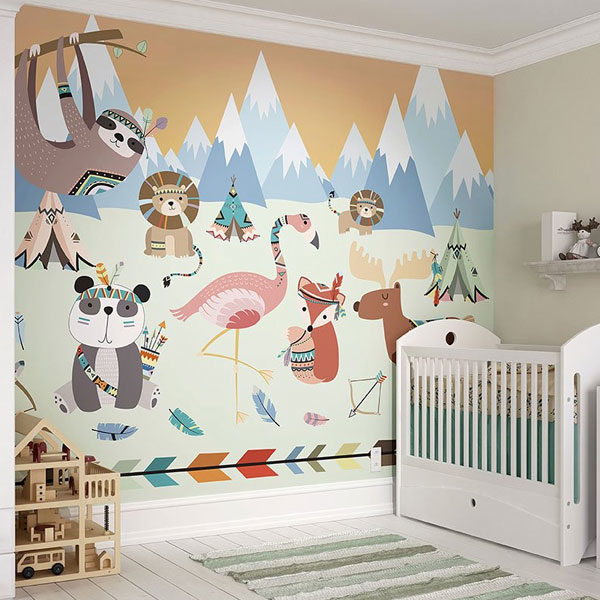 Animal-Reservation-Wall-Mural-XLWS0348-in-baby-room