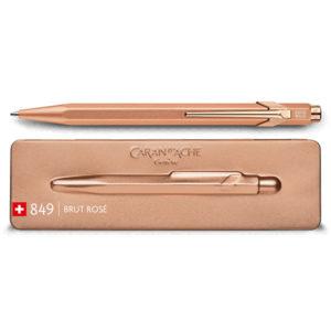 Caran-Dache-849-BRUT-ROSE-Ballpoint-Pen-with-Holder