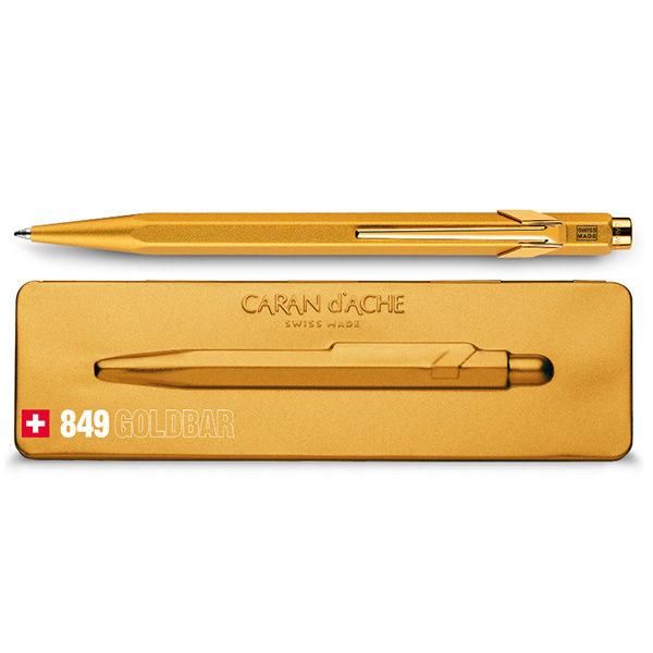 Caran-Dache-849-GOLDBAR-Ballpoint-Pen-with-Holder
