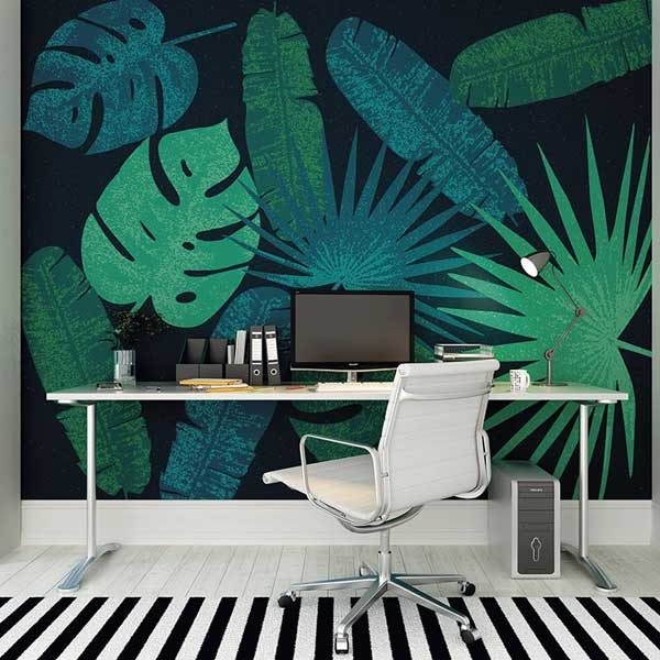 Jungle-Leaves-Wall-Mural-XLWS0208-in-a-study-room