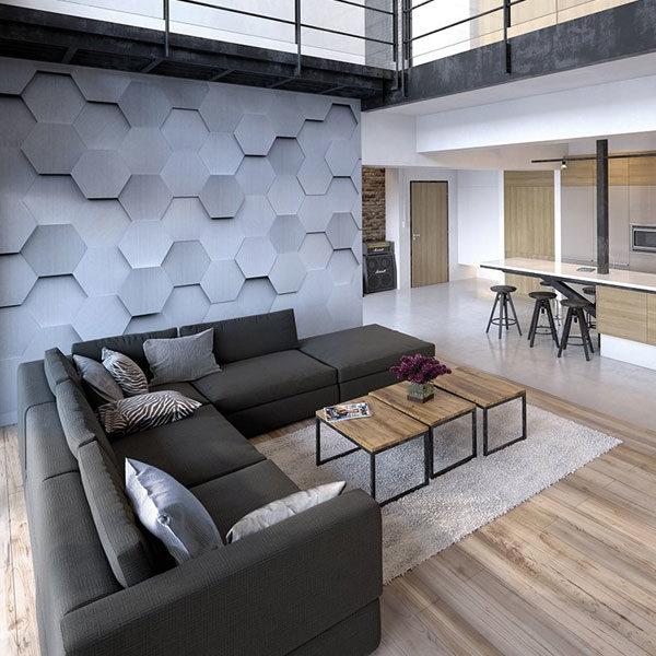 Metal-Hexagons-3D-Wall-Mural-XLWS0254-in-living-room
