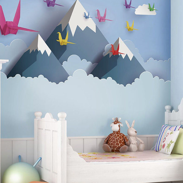 Origami-Mountains-3D-Wall-Mural-XLWS0349-in-baby-room