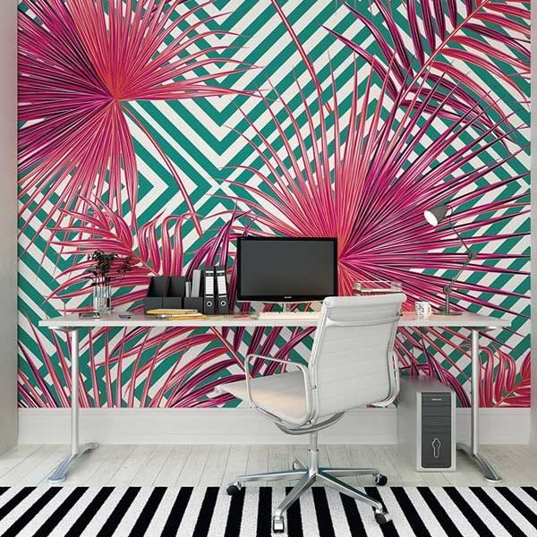 Pink-Palm-Leaves-Wall-Mural-XLWS0216-in-study-room