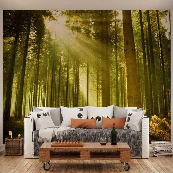 Sunlight-Through-Trees-Wall-Mural-XLWS0060-in-a-living-room-scene