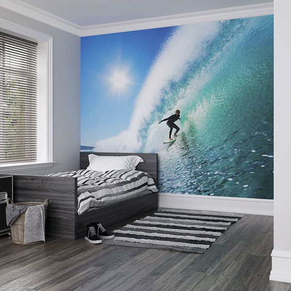 Surfer-On-Wave-Wall-Mural-XLWS0150-in-a-bedroom