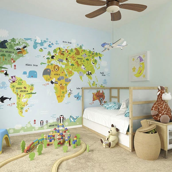 The-Whole-Wide-World-Map-Wall-Mural-XLWS0188-in-bedroom