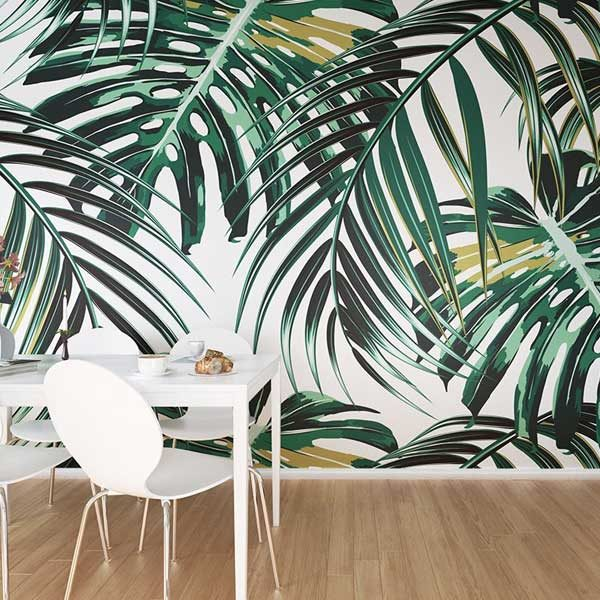 Tropical-Palm-Leaves-Wall-Mural-XLWS0211-in-dining-room