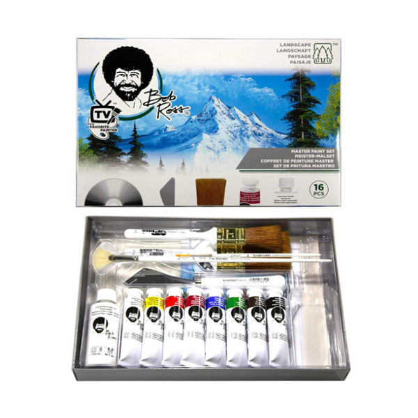 Bob-Ross-Master-Painting-16pc-Set-open-with-contents
