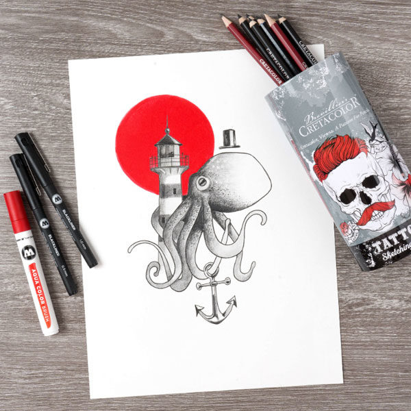 Cretacolor-Tattoo-Sketching-Set-on-a-table-with-sketch-of-octopus