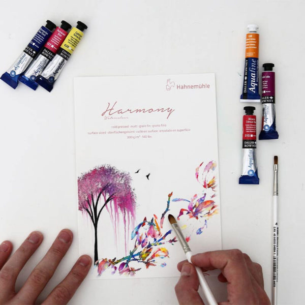 Hahnemuhle-Harmony-Watercolour-Cold-Press-Paper-A5-Sampler-with-paint-on