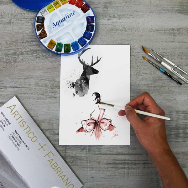 Fabriano-Artistico-Test-Pack with painting done on it