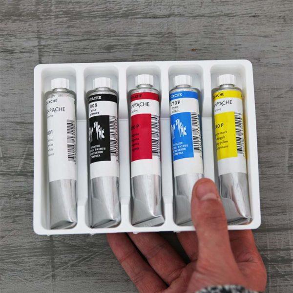 Caran DAche Gouache Studio Tube Set of 5 Primary colours in hand