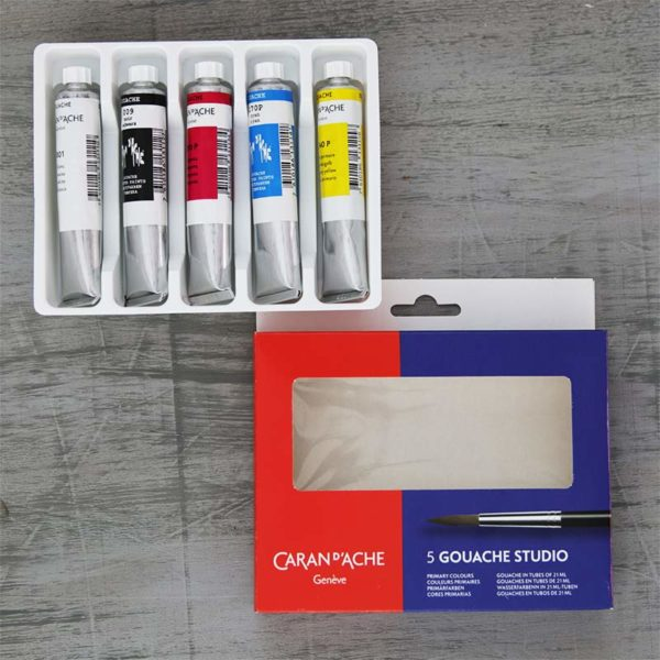 Caran DAche Gouache Studio Tube Set of 5 Primary colours on table
