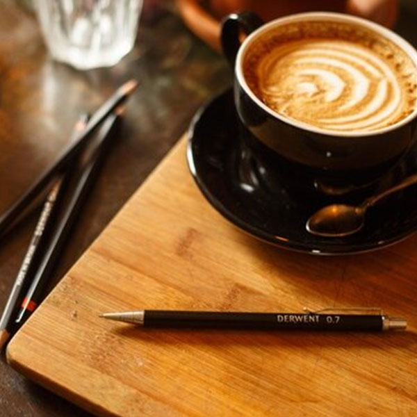 Derwent-Precision-Mechanical-Pencil-with-a-cup-of-coffee