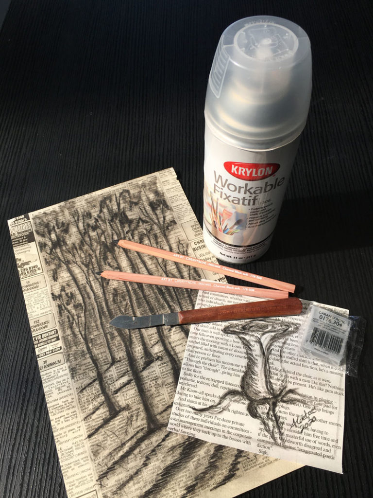 Artsavingsclub-charcoal-sketch-done-on-newspaper-and-krylon-workable-fixatif-spray