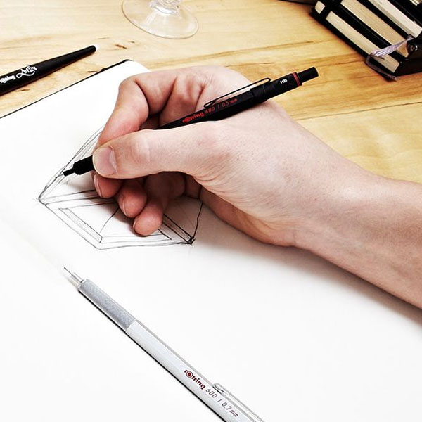 Designer-Drawing-with-a-Rotring-600-Mechanical-Pencil