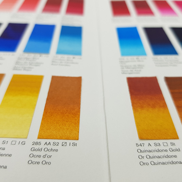Winsor-and-Newton-Professional-Water-Colour-Hand-Painted-Colour-Chart-Yellow-Shades-Close-Up