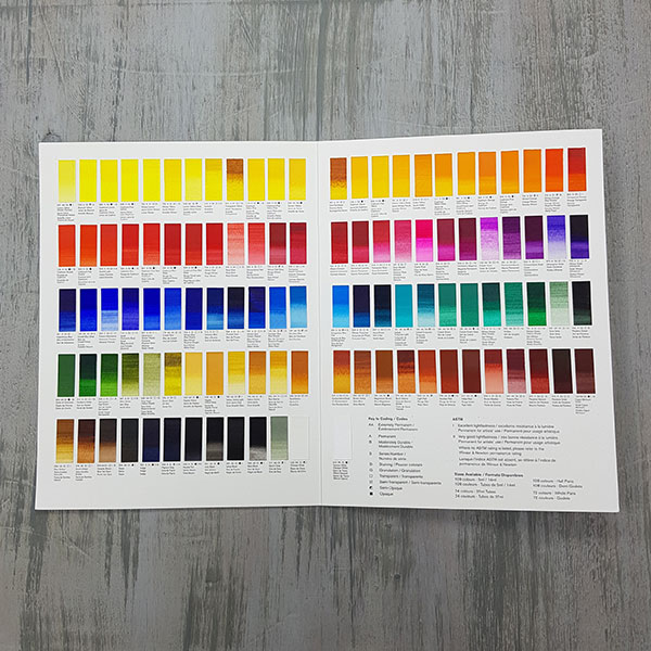 Winsor-and-Newton-Professional-Water-Colour-Hand-Painted-Colour-Chart-on-table-opened-up
