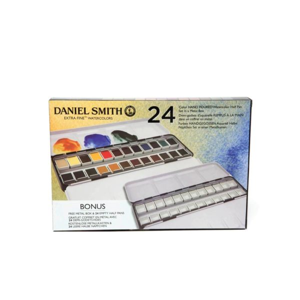 24-Colour-Half-Pan-Set-in-Metal-Box-+-Bonus-Metal-Box-with-24-Empty-Half-Pans