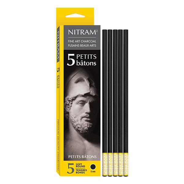 Nitram-Fine-Art-Charcoal-5-Soft-Round-6mm-Sticks-700300