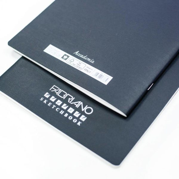 Close up of a Fabriano Accademia Sketchbook back and front