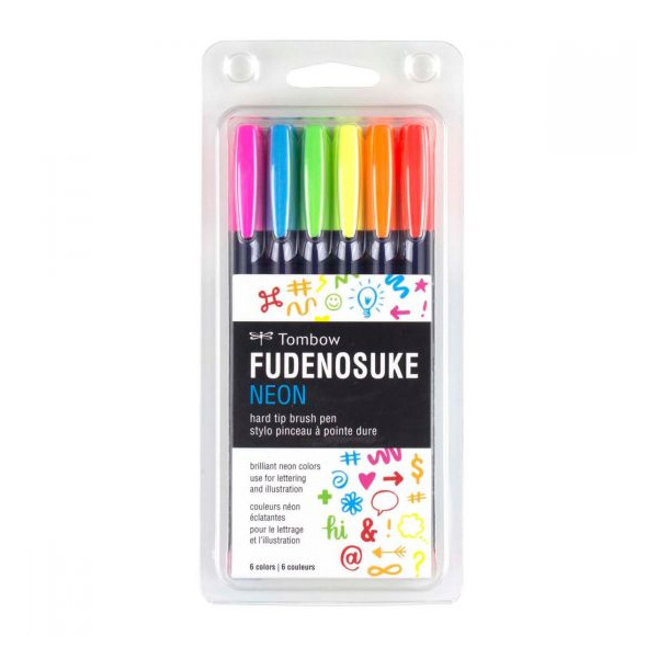 Tombow-Fudenosuke-Brush-Pen-Set-of-Neon-Colours-56437
