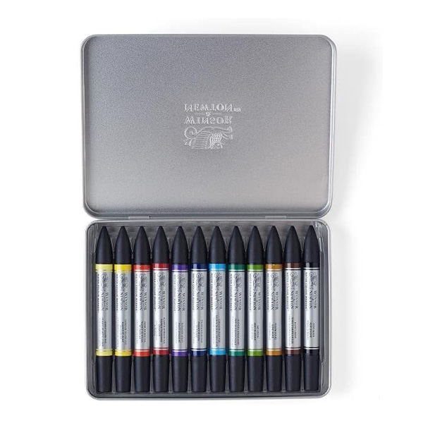 Winsor-and-Newton-Water-Colour-Marker-Set-of-12-Tin-set-opened-up-0290001