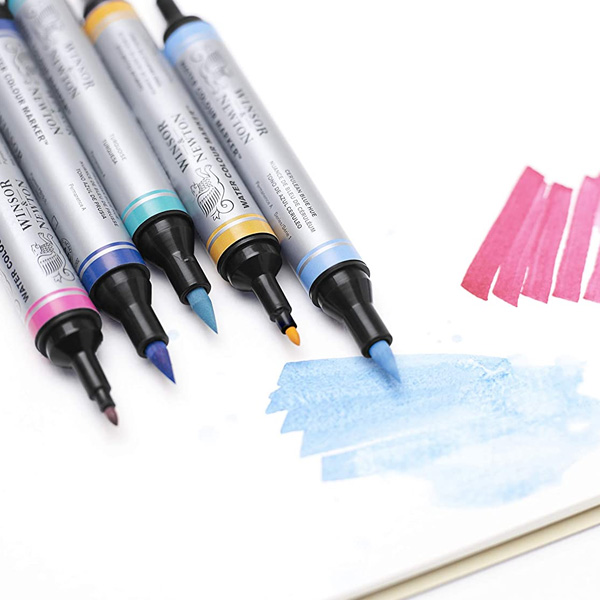 Winsor-and-Newton-Water-Colour-Markers-Nibs-and-colour-sample