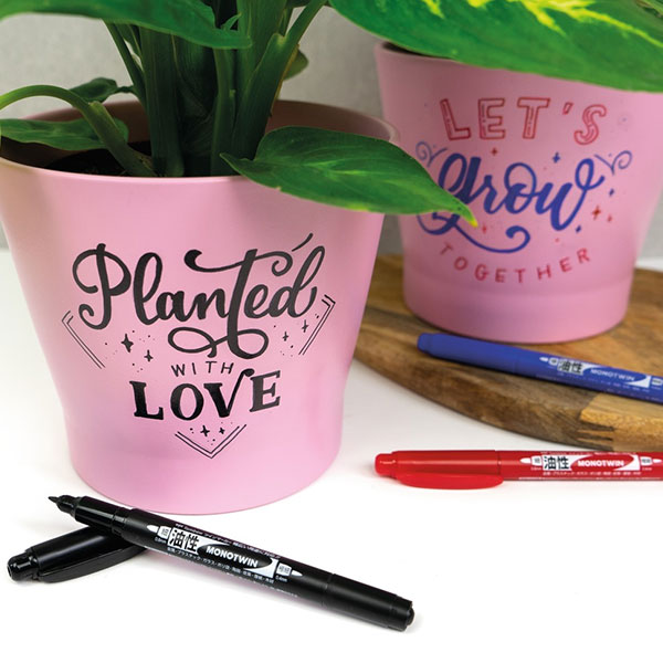 Tombow-Mono-Twin-Markers-drawing-on-pot-plants