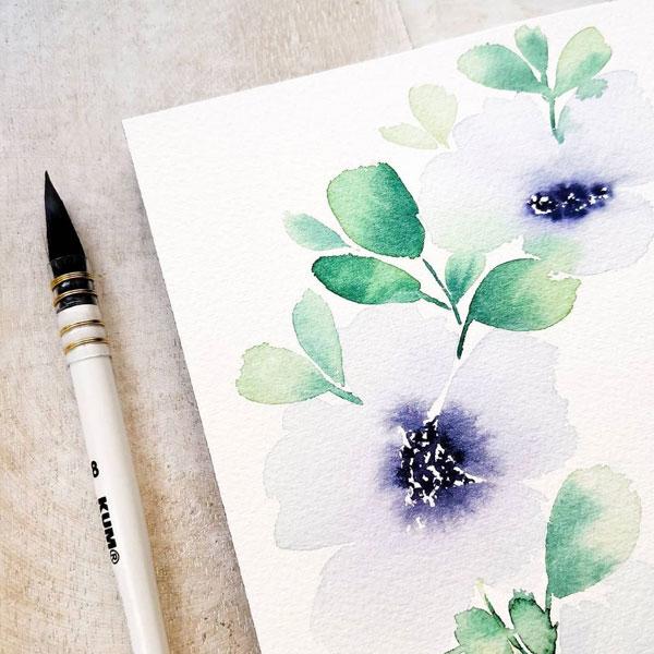 KUM-French-Aqua-Brush-with-watercolour-sketch