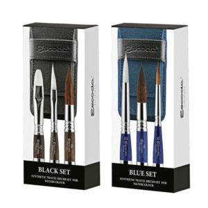 Escoda-Black-and-Blue-Synthetic-Travel-Brush-Sets