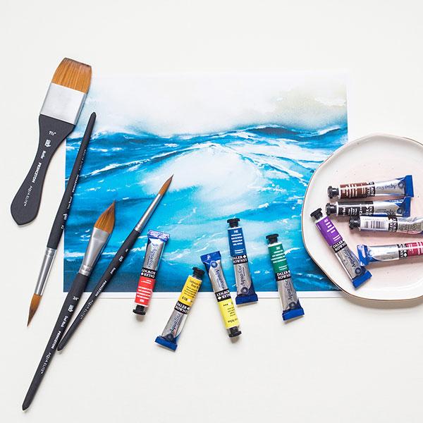 Princeton-Aqua-Elite-Brushes-with-Daler-Rowney-Aquafine-watercolour-paints