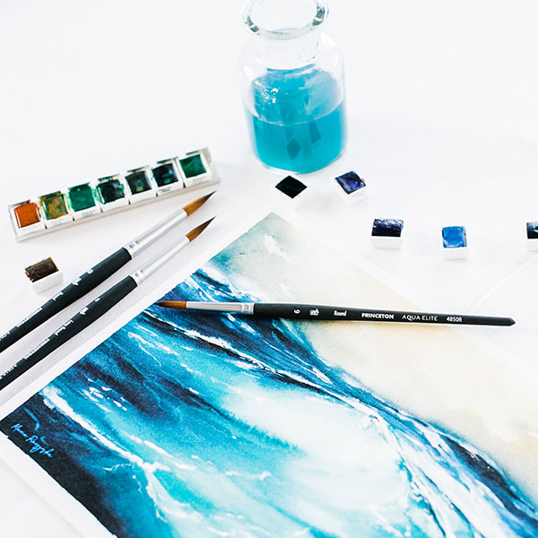 Princeton-Aqua-Elite-Brushes-with-watercolour-halfpans