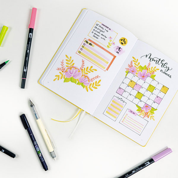 Tombow-Creative-Journaling-Bright-Kit-with-sample-sketches