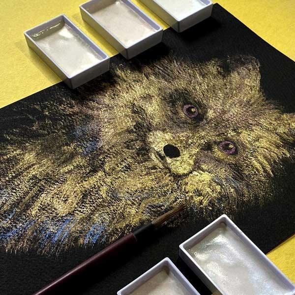 KURETAKE-GANSAI-TAMBI-Opal-Colors-set-with-Sketch-of-a-fox