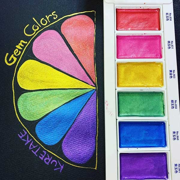 KURETAKE-GANSAI-TAMBI-Set-of-6-Gem-Colors-on-black-paper