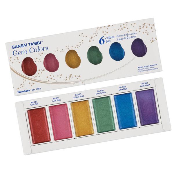 KURETAKE-GANSAI-TAMBI-Set-of-6-Gem-Colors-set-in-Packaging