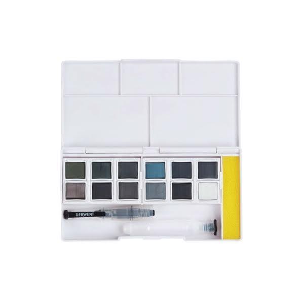 Watercolour Paint Pan Tinted Charcoal Set Colours – Derwent